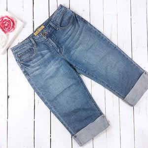 Seven7 Capri Cuffed Crop Blue Jeans SZ 8
